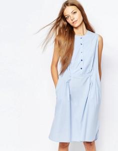 Платье-рубашка без рукавов со складками Paul by Paul Smith - Синий