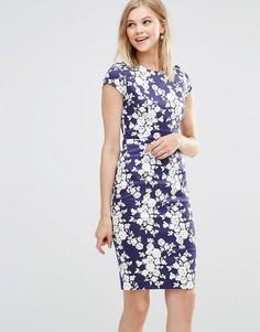 Цельнокройное платье с цветочным принтом Poppy Lux Serita - Темно-синий