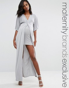 Missguided Maternity Knot Front Slinky Maxi Dress - Серый