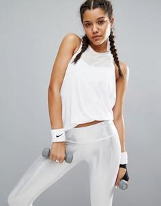 Майка с драпированной проймой и сетчатыми вставками Haute Body - Белый