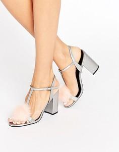 Серебристые сандалии на блочном каблуке цвета металлик Office Sugar - Серебряный