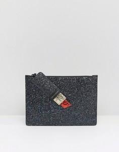 Клатч с дизайном губной помады и блестками Lulu Guinness Grace - Черный