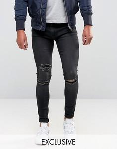 Серые супероблегающие джинсы с рваными коленками Liquor & Poker - Серый