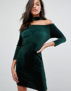 Miss Selfridge Choker Velvet Bardot Dress - Зеленый