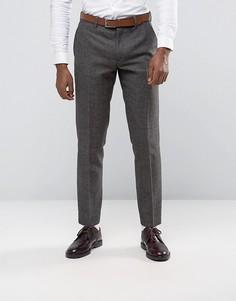 Коричневые строгие брюки с узором в елочку Penguin - Коричневый