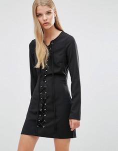 Облегающее платье с кружевным передом Madam Rage - Черный
