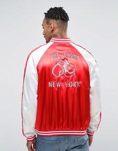 Куртка-пилот с вышивкой в боксерском стиле Liquor & Poker - Красный