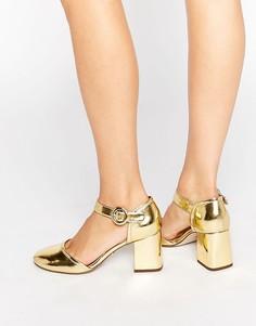 Туфли на блочном каблуке с квадратным носком Kurt Geiger Poppy Mary Jane - Золотой