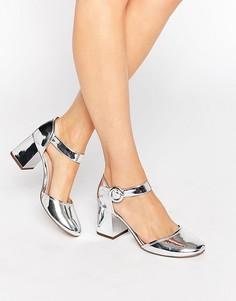 Туфли на блочном каблуке с квадратным носком Kurt Geiger Poppy Mary Jane - Серебряный