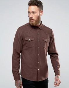 Классическая рубашка в стиле вестерн с добавлением шерсти ASOS - Коричневый