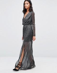 Платье миди с длинными рукавами и запахом Club L - Серый
