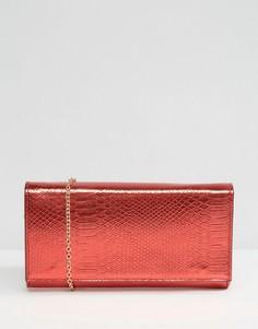 Клатч с отделкой под змеиную кожу металлик Yoki Fashion - Красный