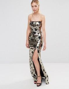 Платье макси с лифом бандо и боковым разрезом City Goddess - Золотой