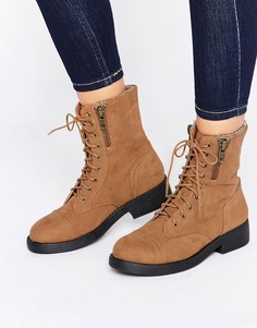 Ботинки на шнуровке Boohoo - Рыжий