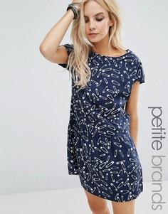 Чайное платье с принтом английской булавки Noisy May Petite - Темно-синий