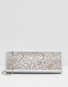 Атласный клатч с вышивкой Lotus Karolina - Серебряный