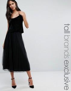 Тюлевая юбка миди Y.A.S Tall Betsy - Черный