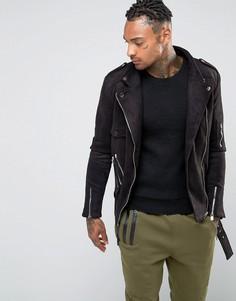 Байкерская куртка в замшевом стиле Sixth June - Черный