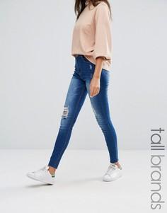 Зауженные джинсы с высокой талией и рваной отделкой Missguided Tall Sinner - Синий