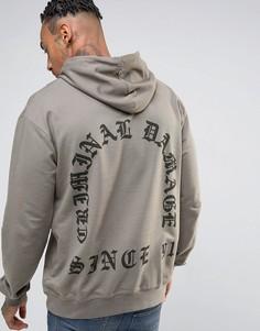 Худи с принтом на спинке Criminal Damage - Серый