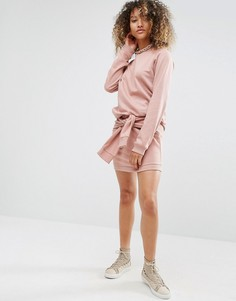 Трикотажная мини-юбка с завязкой спереди Daisy Street Co-Ord - Розовый