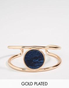 Позолоченный браслет-манжета с камнем Pilgrim - Золотой