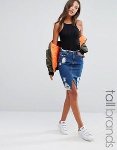 Missguided Tall Destroyed Hem Denim Skirt - Синий
