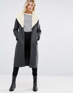 Серый удлиненный шерстяной тренч Cooper & Stollbrand - Серый