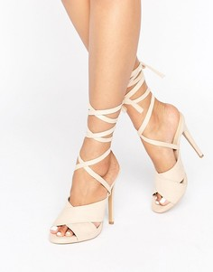 Truffle Tie Ankle Rita Heeled Sandals - Бежевый