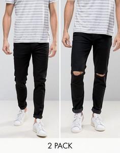 2 пары облегающих джинсов (черные и черные с рваными коленями) ASOS - СКИДКА 15 - Черный