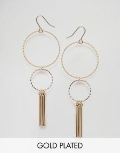 Позолоченные серьги с двумя кольцами и цепочками Nylon - Золотой