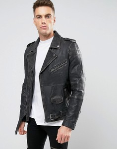 Кожаная байкерская куртка с выбеленным эффектом Barneys Premium - Черный Barneys Originals