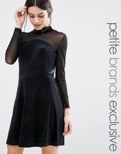 Короткое приталенное платье с сеточкой на рукавах True Decadence Petite - Черный