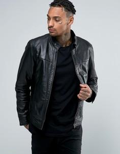 Кожаная байкерская куртка Barneys Premium - Черный Barneys Originals