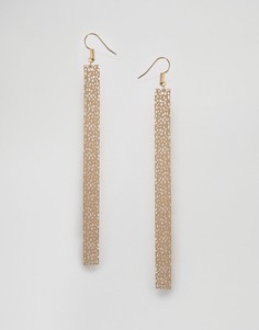 Серьги-подвески в виде планок с гравировкой Nylon - Золотой