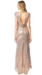 Вечернее платье с блестками и хомутом сзади Badgley Mischka Collection
