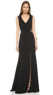 Вечернее платье с кружевными вставками Marchesa Notte