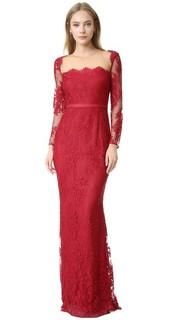 Кружевное вечернее платье с длинными рукавами Marchesa Notte