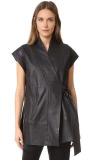Кожаный жилет с запахом Kimono Zero + Maria Cornejo