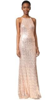 Вечернее платье с блестками и воротником-хомутом сзади Badgley Mischka Collection