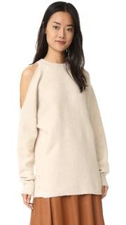 Пуловер с вырезом на плече из вареного трикотажа Tibi