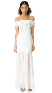 Кружевное вечернее платье с открытыми плечами Self Portrait