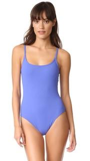 Узкий сплошной купальник с овальным вырезом Karla Colletto
