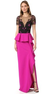Draped Cap Sleeve Gown Marchesa Notte