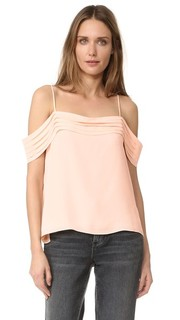 Pleated Off Shoulder Silk Top