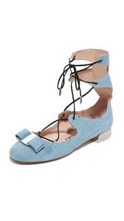 Обувь Flanda с тиснением под деним и плоской подошвой Salvatore Ferragamo