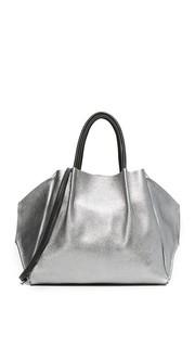 Металлизированная объемная сумка Zoe с короткими ручками Oliveve