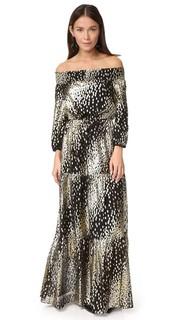 Вечернее платье в металлизированный горошек с открытыми плечами Shoshanna