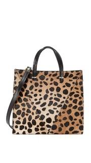 Миниатюрная объемная сумка с короткими ручками из кожи с коротким ворсом Clare V.