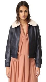 Летная куртка с воротником из короткой шерсти See by Chloe